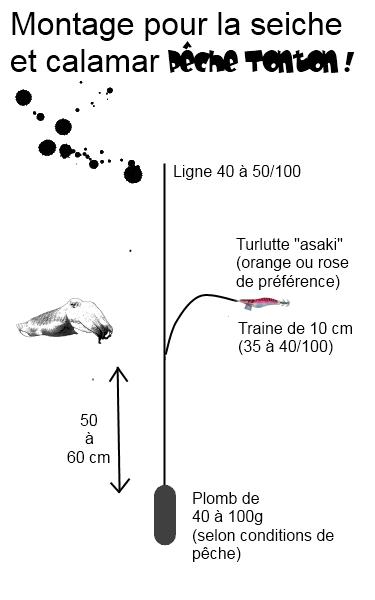Montage d'un leurre pour le calamar ou la seiche (drop-shot)